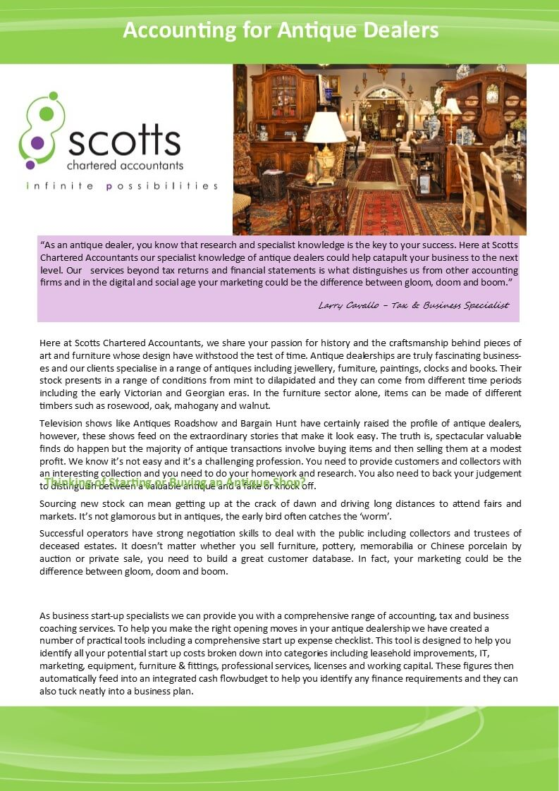 Scotts Chartered Accountants - Accounting for Antique Dealers